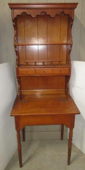 Secretary Desk with Bookcase, Solid Wood