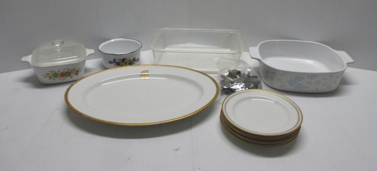 Small Corningware Dish with Lid; Mid-Size Corningware Dish without Lid; Gold Rimmed Haviland-France Platter, No Cracks or Chips; (4) Limoges Dessert Plates, No Chips or Cracks; (15) Kitchen Knives, Various Styles and Sizes, Taped Sharp Edges for Safety; Glasbake Dish; Small Enamel Bowl, Small Chip; (4) Older Drawer Pulls
