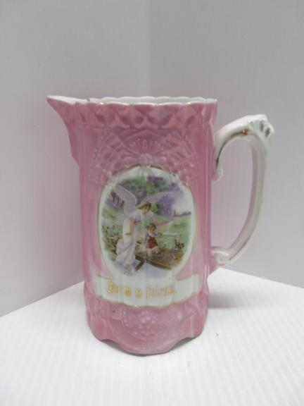 "Pink China Pitcher, Depicting Guardian Angel Protecting Child, Has Floral Embossing ""From a Friend"""