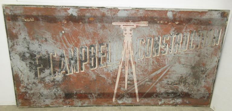 HP Campbell Construction Sign, From Detroit, MI, Metal/Steel