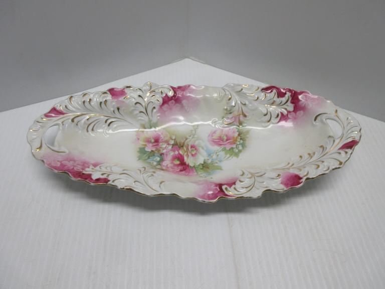 R.S. Prussia Celery Dish with Floral Decoration