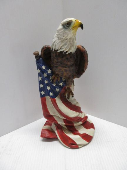 Large Eagle and American Flag Statue
