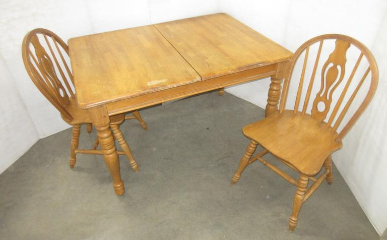 Oak Butcher Block Table with a Leaf and (2) Chairs