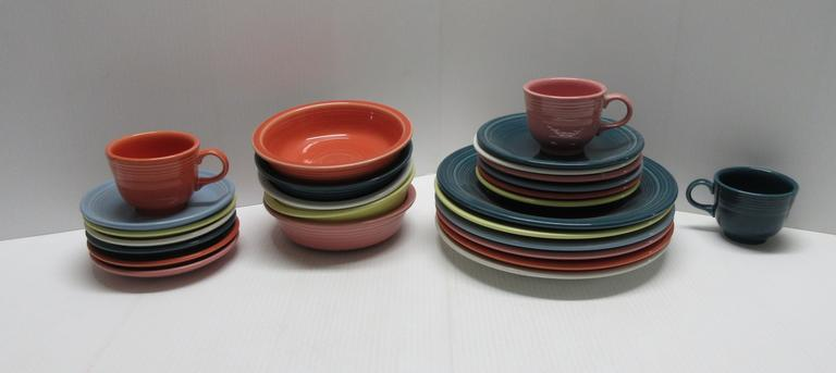 Fiestaware Dishes, Include: (6) Large plates, (6) Small Plates, (6) Saucer Plates, (5) Bowls, and (3) Coffee Mugs