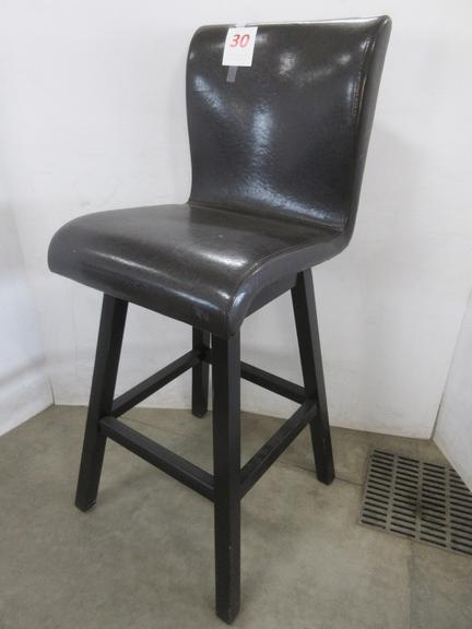 Brown and Black Swivel Chair, Bar Top Height