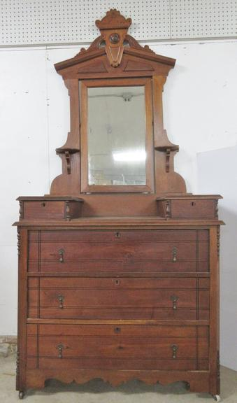 Antique Dresser with Attached Mirror, Elegant Carving