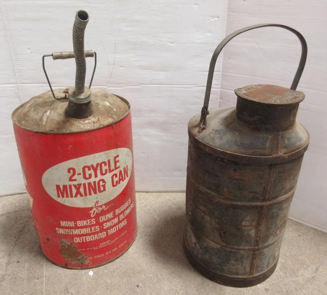 "Older Progress Mfg. Co. Arthur, IL Five-Gallon Aluminum Gas Can Screw-Off, 23""H, Cap is Broken, Does Not Affect Tightening of Cap, Some Paint Chips and Scrathes with a Few Dents; Five-Can Oil Can, Has Wear"