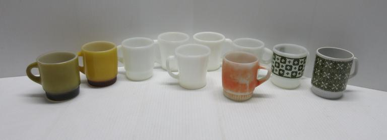(9) Anchor Hocking Fire King Coffee Mugs and a Cup Made in Germany