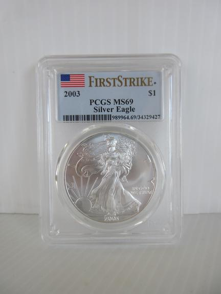 2003 Silver Eagle 1 oz. Silver Coin, Certified MS69 First Strike by PCGS