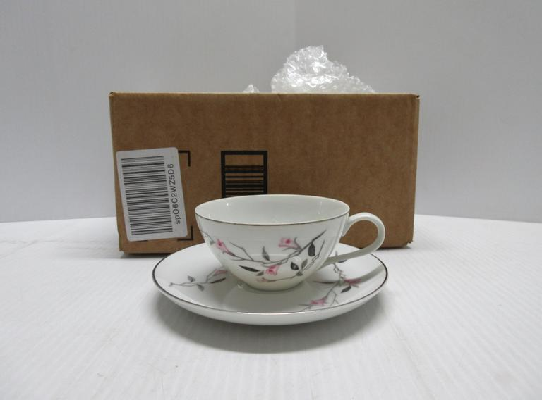 Older Six-Piece Cherry Blossom Fine China Tea Cup and Saucer Set