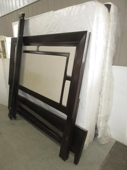 King Side Headboard, Footboard, and Rails with a Clean Mattress