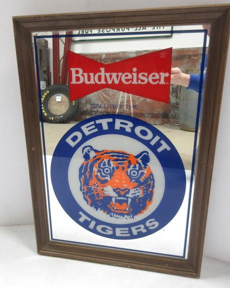 """Budweiser Salutes the Detroit Tigers"" Bar Advertising Mirror, Wood Framed"