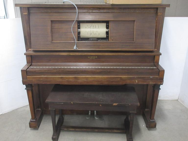 1920s Western Piano Co. Player Piano with Bench and (48) Rolls of Music, Chicago, IL, Buyer Must Provide Own Loading Help
