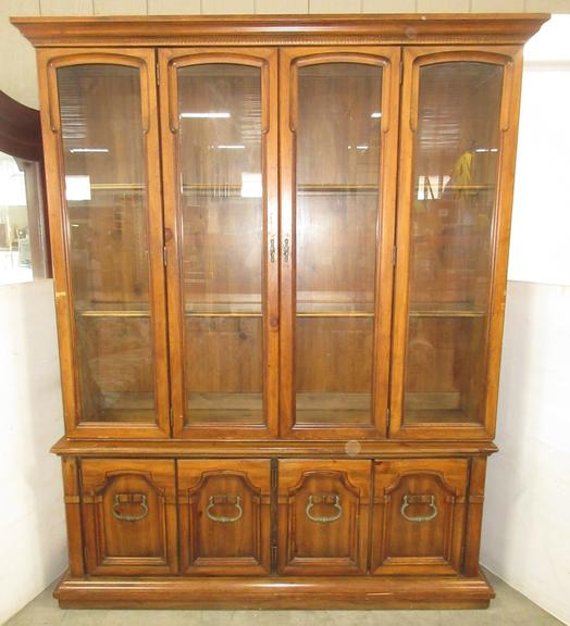 Large Two-Piece Wooden Hutch with Glass in Doors and Drawers Underneath