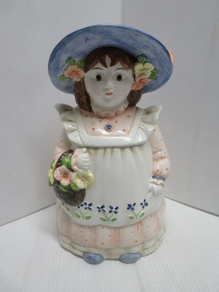 1960s/1970s Springtime Girl with Flower Basket Cookie Jar, Made in Japan