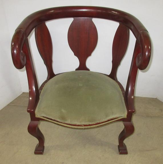 Dark Brown Wood Chair with Green Seat