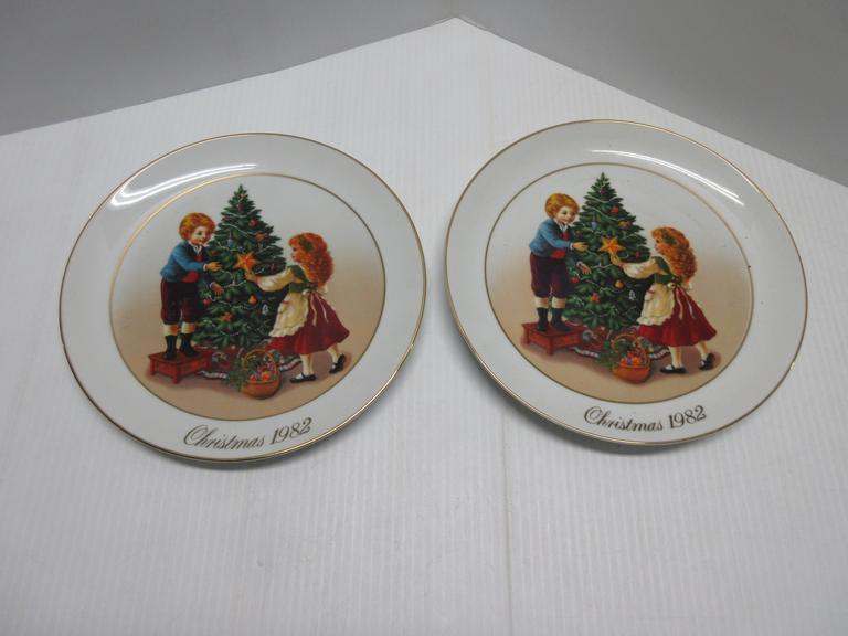 (2) 1982 Christmas Plates by Avon