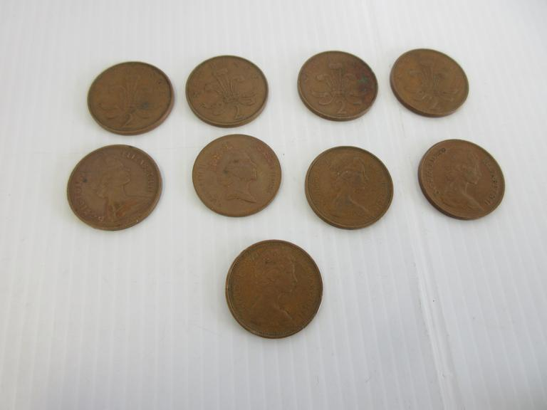 (9) Pence Coins, Include: Four- 1971, 1975, 1978, 1979, 1980, and 1985