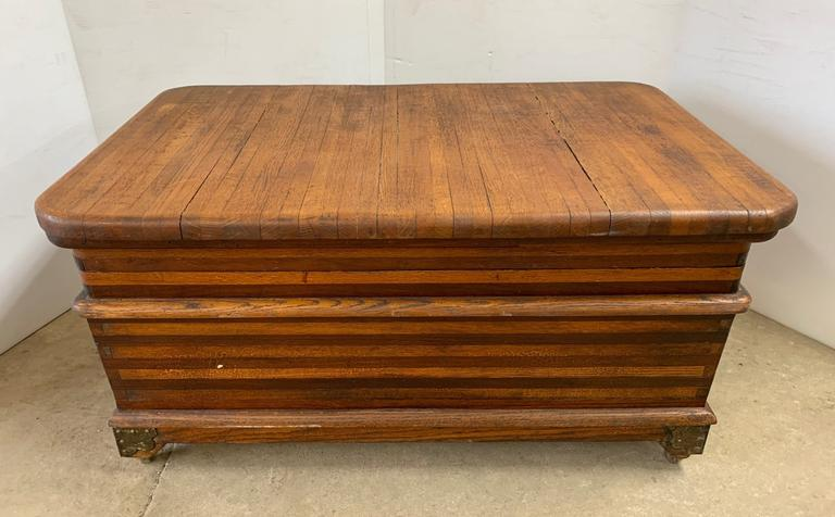Antique Hardwood Dovetail Storage Box with Hinged Lid, Dark Oak and White Oak, Matches Lot No. 20
