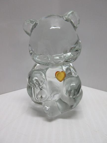 "Fenton Glass 4"" Clear Bear with Topaz Heart, Marked ""Fenton"" on Back"
