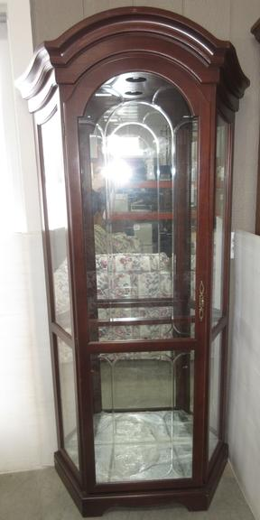 Wooden Curio Cabinet with Glass Shelves