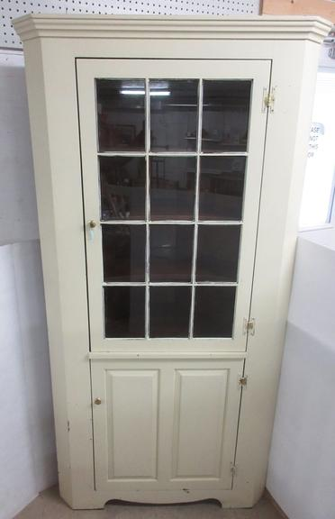 Cream Painted All Wood Walnut Corner Farmhouse Style China Display Cabinet with Top Glass Door and Closed Bottom Storage Area