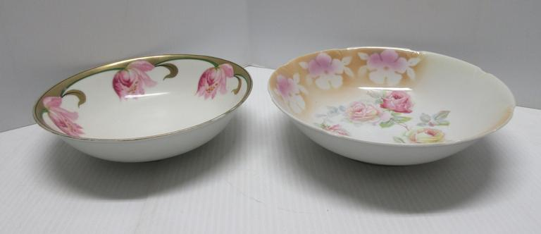 (2) Large Antique Bowls from Germany: 1- With Roses and 1- With Tulips