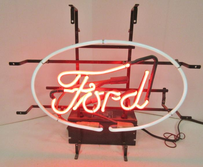 Older Ford Motor Co. Window Neon Sign with Pull Cord