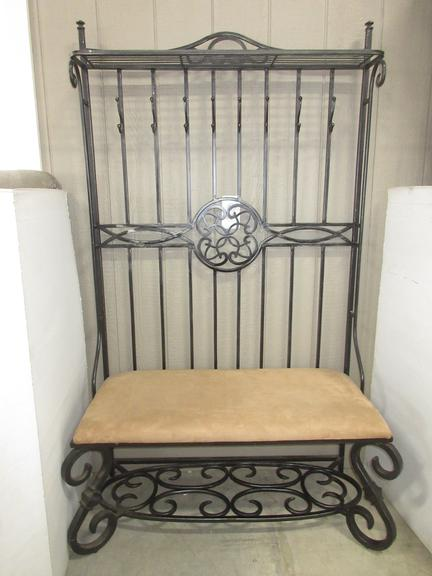 Wrought Iron Hall Tree, Has Seat Hooks for Coats and a Place for Shoes