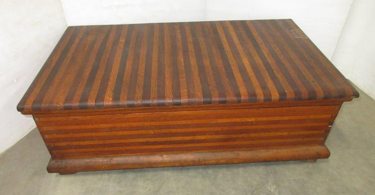 Solid Oak Early 1900s Butcher Block Chest Trunk