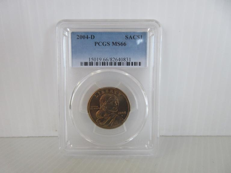 2004-D Sacagawea Dollar Coin, Certified MS 66 by PCGS