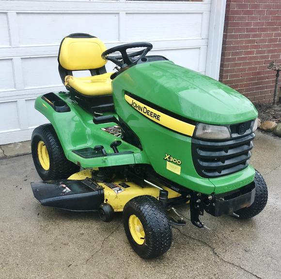 "John Deere X300 Lawnmower with 42"" Deck, 823 Hours, New Battery, Newer Blades"
