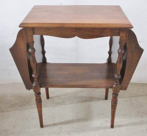 Antique Side Table with Magazine Racks
