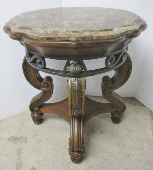 "High Quality Heavy Occasional Table with 1"" Marble Top with Curved Edge, Wrought Iron with Swirl Design and 3"" Wood Legs Intricately Carved"