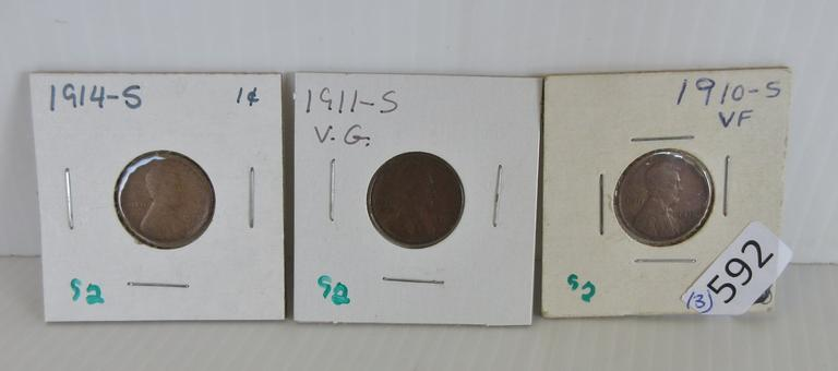 Lincoln Pennies, Include: 1910-S, 1911-S, and 1914-S