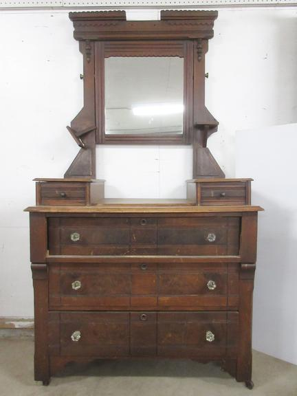 Antique Five-Drawer Dresser with Mirror