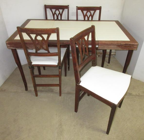 Older Folding Table, (4) Chairs, and Center Leaf, Manufactured by Louis Rastetter