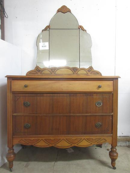 Antique Montgomery Ward Dresser with Carved Wood Mirror