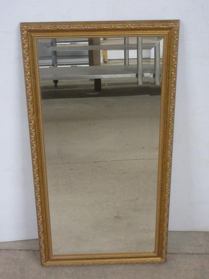 Wood Framed Beveled Glass Wall Mirror