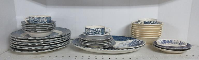 Currier & Ives Dinnerware and Other Various Bowls, Made in Japan