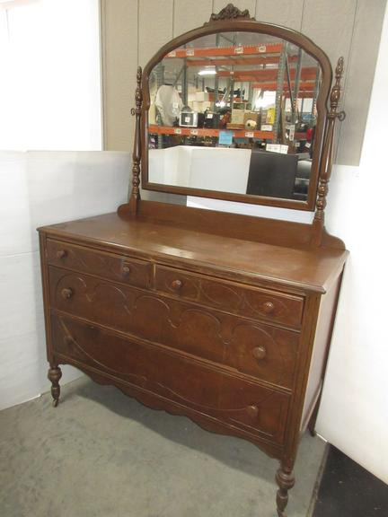 Antique Dresser with Mirror, Four Drawers, Dovetail Joints, Designs on Drawers, and Top Left Side Drawer has Plaque where it was Made, By Helers Furniture, Saginaw, MI