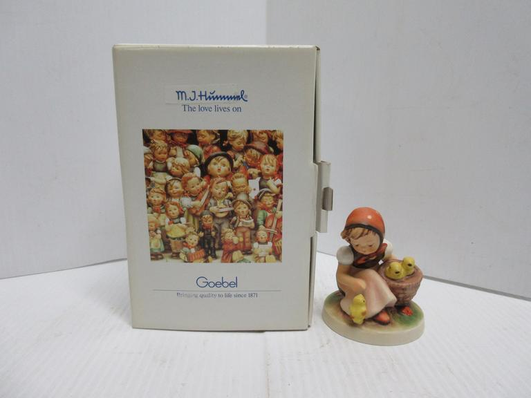 "Hummel Goebel Germany ""Chick Girl, No. 57"", Girl with Baby Chicks Figurine in a Hummel Box"