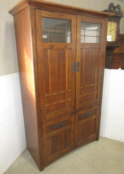 Entertainment Center with Lots of Storage Area and Leaded Glass Doors on Top, Would Make a Nice Armoire