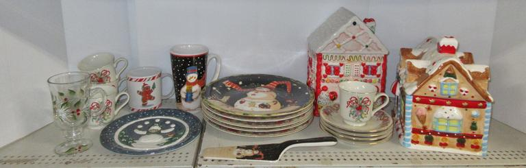 Box of Christmas Dishes and Cookie Jars