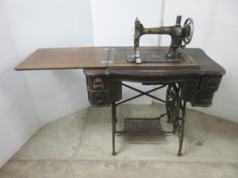 Antique Rotary Treadle Sewing Machine, White Brand