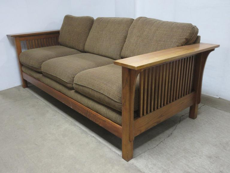 Bassett Couch with Wood/Cushion Cloth Material, Seats Three Comfortably, Matches Lot No. 53