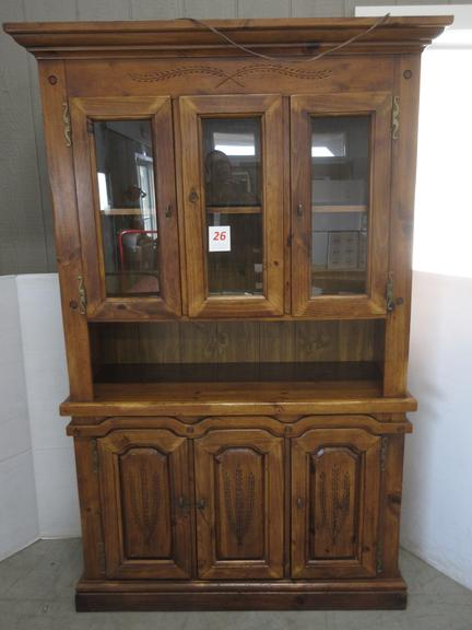 Wood China Cabinet, Has One Extra Window, Lighted, Shelves and Windows are Removable
