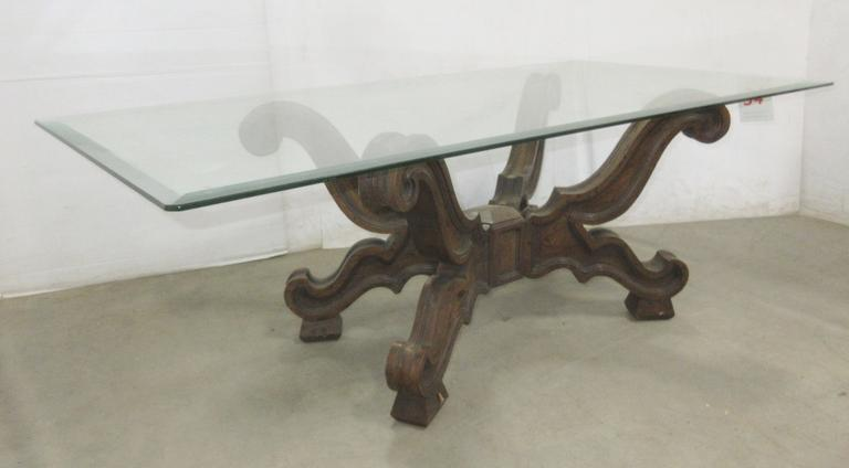 Wood Base/Beveled Glass Top Coffee Table