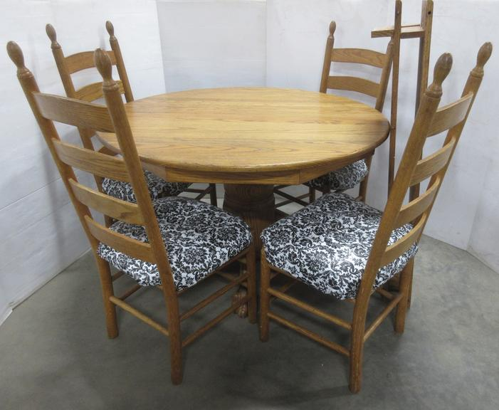 Solid Wood Table, (4) Chairs, and (2) Leaves
