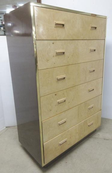 Tiger Maple Front Dresser with Six Drawers, Henredon Maker